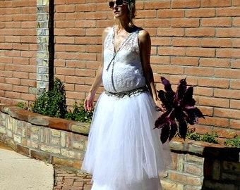 Maternity-1920s Wedding Dress-Vintage Dress-Vintage Wedding Dress-Wedding Separates-Herringbone Jeweled Lace Deep V Blouse-Bride Collection