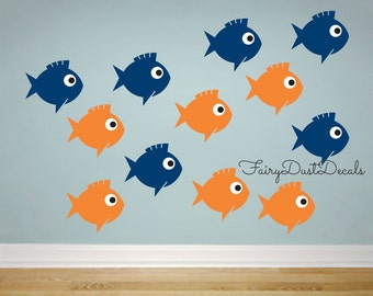Fish Wall Decal Set of 12 - vinyl fish decals - ocean wall decor - under the sea fish wall decals - boy bedroom wall decal - girl wall decal
