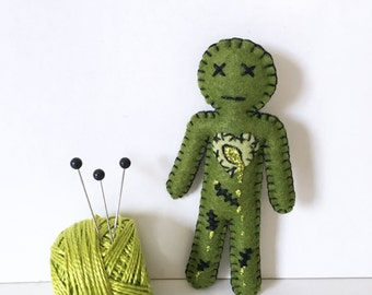 Mini Voodoo Doll Zombie Doll - Walking dead zombie moss green - as Seen in Stuffed Magazine - hand sewn - OOAK