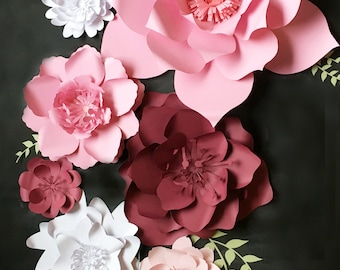 Paper Flower Backdrop. PhotoBooth Backdrop. Flower Wall Photo Booth - PRE-ASSEMBLED Flowers. Wedding Photo Backdrop. Baby Shower Decor.