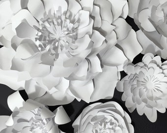 Paper Flower Collection - PRE-ASSEMBLED Flowers. Wedding Photo Backdrop. Baby Shower Decore
