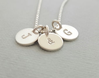 Silver Initial Necklace mothers day gift personalized necklace stamped disc charm necklace sterling silver personalized mother grandmother