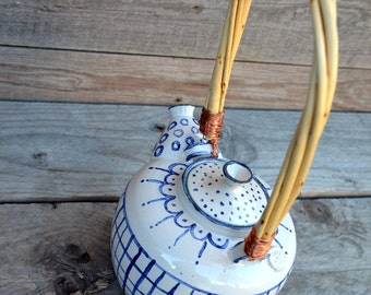 Stoneware Teapot in white with rustic blue decor  - Stoneware (grès) Teapot - Ceramic teapot