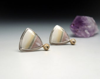 Willow Creek Jasper and Citrine Earrings in Silver and Gold, Pastel Colors, Triangular, Posts