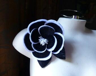 Black & White Rose Velvet Millinery Flower for Bridal, Hats MF 110bw