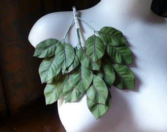 SALE Green Leaves Vintage Silk with Red Veins for Bridal, Headbands, Bouquets, Boutonnieres, Millinery ML 144