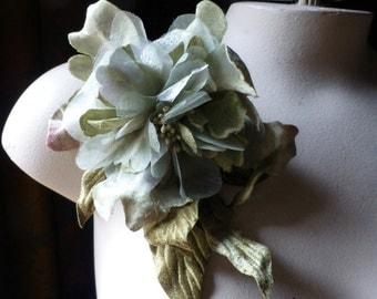 Green Silk Peony Organza & Velvet for Bridal, Millinery, Costume Design MF 128