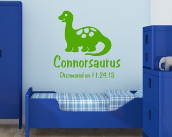 Dinosaur decal, Personalized vinyl decal, boy name monogram, dinosaur wall art, name monogram, stegosaurus decal