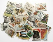 25 x animal wildlife world postage stamps | modern vintage random mixed used stamps for crafting, collage, upcycling, decoupage, collecting