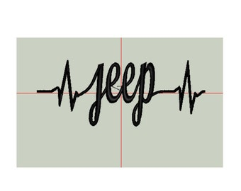 Jeep Wrangler Heartbeat Embroidery Design