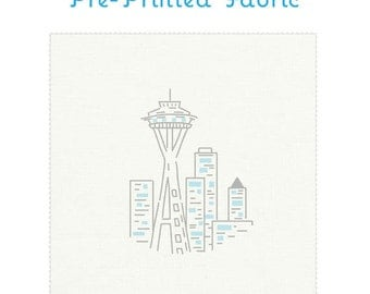 SEATTLE SPACE NEEDLE pre-printed fabric for embroidery - embroidery design, embroidery pattern, hand embroidery by Studiomme