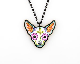 Chihuahua in White - Day of the Dead Sugar Skull Dog Necklace