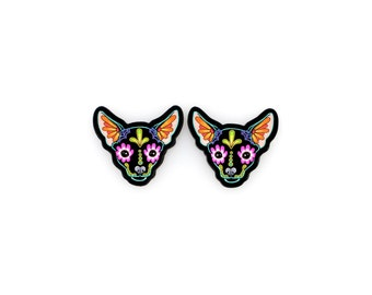 Chihuahua Earrings in Black - Day of the Dead Sugar Skull Dog Post Earrings
