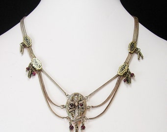 Reserved for vere Antique necklace Ruby Silver centerpiece Gold Byzantine festoon drop niello Gypsy fringe drops Vintage choker collar