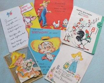 6 Vintage Farmer Themed Birthday and Get Well Cards Pop-up Movie