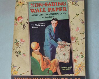 1930 Mongomery Ward Wallpaper Sample Book Art Deco Florals