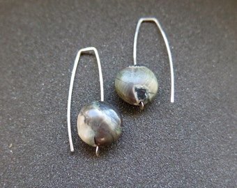 green jasper earrings in hammered sterling silver. Canadian seller.