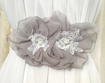 Gray and White Chiffon Flower Wedding Sash with Lace Satin Bridal Sash Belt