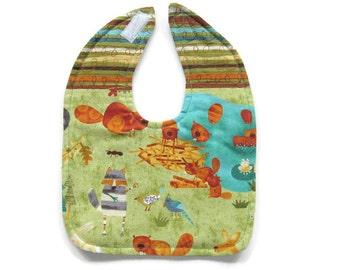 Reversible Forest Friends Baby Bib - Forest Animals Baby Bib - Turquoise & Green Forest Friends Toddler Bib