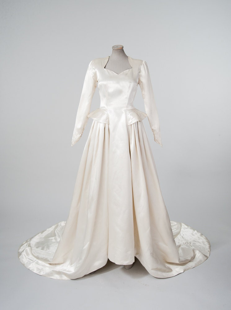 1940s liquid satin wedding dress vintage ivory white bridal