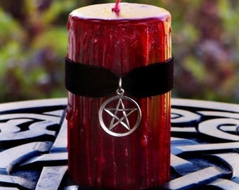 TRUE BLOOD™ Sacred Witchblood Gothic Red Pillar Candle w/ Pentacle on Black Velvet, Dragon's Blood - Power Casting, Blood Moon, Choose Size