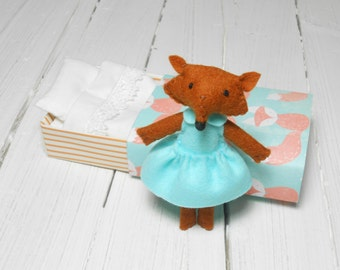 Little Fox woodland plush stuffed felt animal in matchbox felted miniature sleepy fox orange mint green little prince fox fantastic mr fox