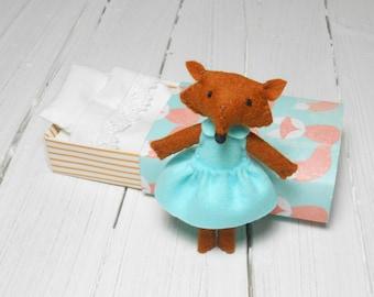 Little Fox woodland plush stuffed felt animal in matchbox felted miniature sleepy fox orange mint green little prince fox fantastic mr fox