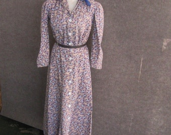 30s 40s Vintage Dress, Cotton Day Frock, Brown Blue Paisley Print, Long Sleeve, Button Front Bodice. Flared Skirt, WWII, Bust 36