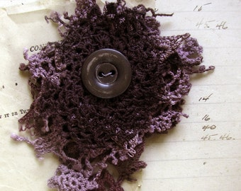 DIY doily brooch kit - hand dyed vintage textiles - antique mother of pearl button - dark storm