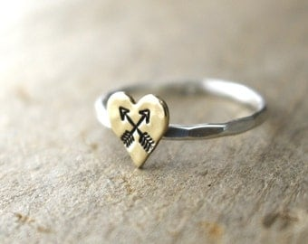 Arrow Ring, Crossed Arrow Ring, Heart Ring, Love Ring, Stack Ring, Brass Heart Ring, Boho Ring, Hipster Ring, Sterling Silver Ring