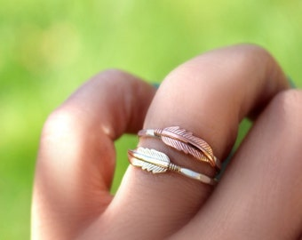 Feather Stack Ring, Stack Ring, Stack Band, Sterling Silver, Silver Ring, Copper Feather Ring, Feather Stack Ring, Boho Ring,Feather Ring