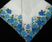 Vintage Scalloped Blue Roses Something Blue Floral Wedding Handkerchief or Doily, 9737