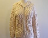 Hooded IRISH WOOL hand knitted sweater cardigan sz. Small / Medium