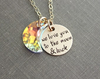 we love you to the moon & back, 14k gold filled Disc Necklace, Hand Stamped with AB Swarovski Crystal Moon, Charm Necklace, Sparkling