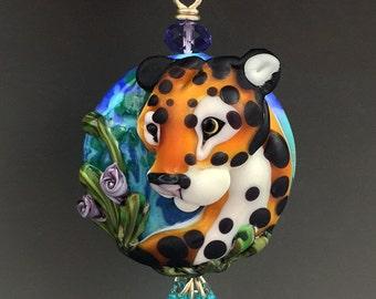 Alpha original custom handmade lampwork leopard bead pendant SRA