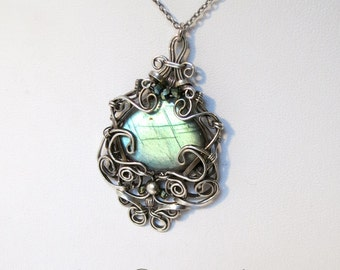 Labradorite and Sterling Silver Wide Drop