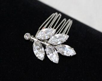 Bridal hair pin, Crystal hair pins, Wedding headpiece, Bridal hair comb, Swarovski hair pin, Bridal hair clip, Leaf hair pin, Antique silver