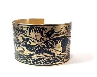 Etched Brass Cuff Art Deco Hunt Scene Bracelet