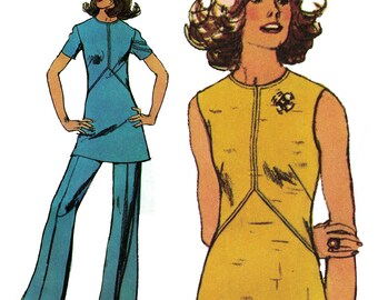 1970s Mod Dress or Pantsuit! Vintage ©1972 Simplicity Sewing Pattern 5444, Misses' Dress or Tunic and Pants, Size 14, Uncut w/ Factory Folds