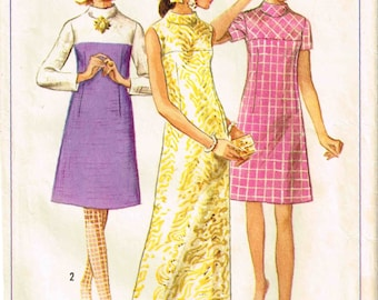 A Line Dress Size 14 Collarless bias Yoke Maxi Length Simplicity 7345  Vintage 1960s  Sewing Pattern Bust 34