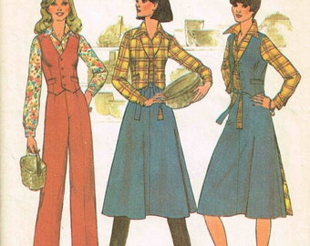 Back Wrap Skirt, Vest, Pants Misses Simplicity 7675 Sewing Pattern Vintage 1970s Size 12 Bust 34