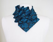 Aster in Spring Moon - Edwardian Silk Ruffle Teal Paisley Couture Necktie Collar