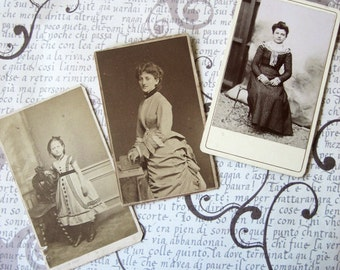 Antique cabinet card lot, Antique Victorian photo's, pretty girl photo's, Carte de Visite, Victorian girls lot, Antique photo lot