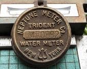 Brass Water Meter Cap, Neptune Trident, bronze, New York, industrial paperweight, found metal sculpture, steampunk,