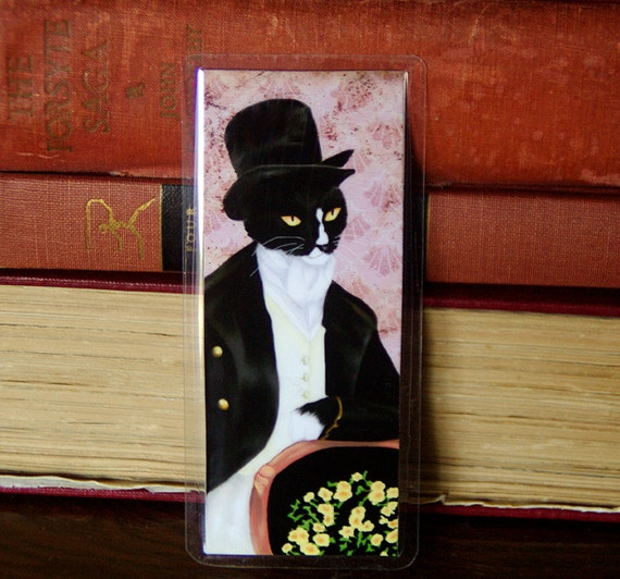 Mr Darcy Cat Bookmark, Pride and Prejudice Tuxedo Cat Art Bookmark
