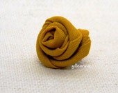 Men lapel pin. Lapel stick pin. Boutonniere. Flower lapel pin.  Lightweight cool wool. Saffron yellow.