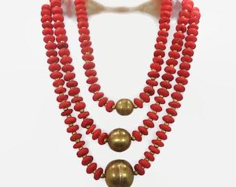 Red Brass Necklace, Big Statement, Vintage Necklace, NOS India, Bohemian Boho, Massive Huge, Ethnic Tribal, Bone, Oversized