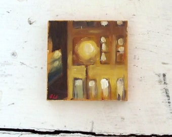 mini oil painting night lights impressionist small art tiny decoration