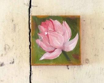 pink lotus flower mini oil painting  impressionist small art tiny decoration