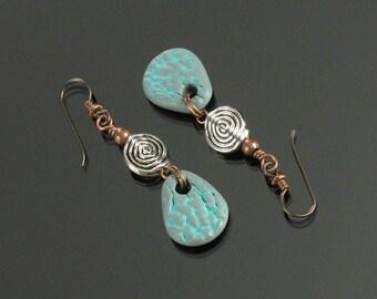 Earthy Tribal Earrings, Rustic Dangle Earrings, Unique Boho Earrings, Ethnic Earring, Art Jewelry, Handmade Jewelry Earring Gift, Mom, Women
